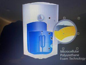 نمونه فوم پلی اورتان در ساختار آبگرمکن